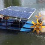 Solar paddle wheel aerator